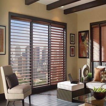 living room wooden blinds